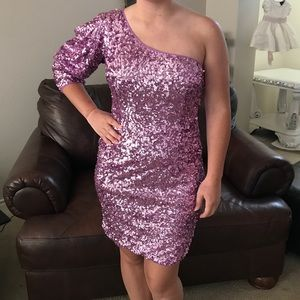 Short purple sequin prom dress